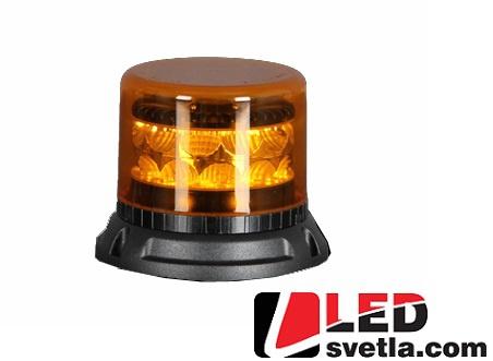 LED maják výstražný, oranžový, 12-24V, 24x3W, 133x86mm, magnet