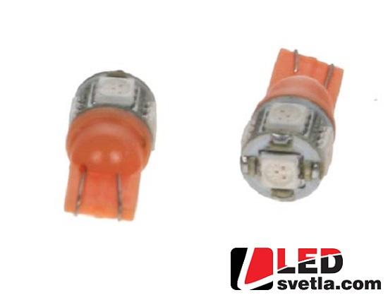 Autožárovka T10, oranžová, 12V, 5LED/3SMD