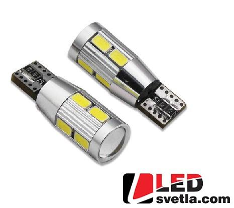 Autožárovka T10, bílá, 12V, CREE 5W+8LED/5630 (W3W,W5W)