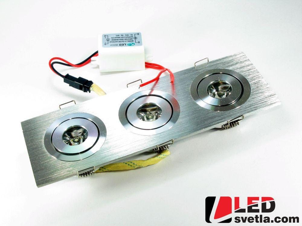 Svítidlo obdélníkové - LED 3W, 230V, se zdrojem, WW (teplá bílá)