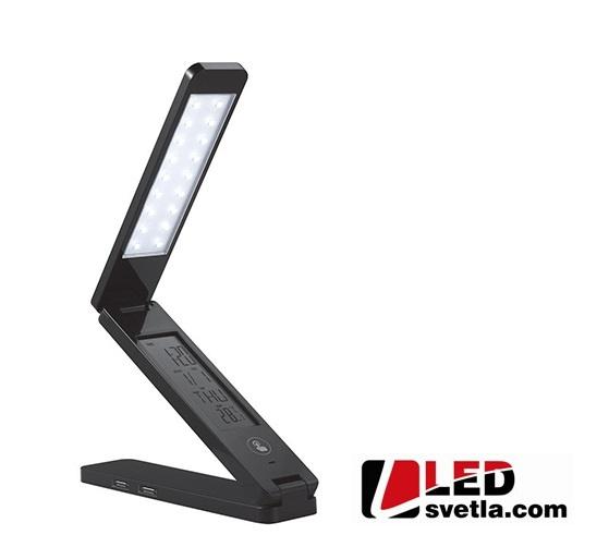Svítidlo - stolní lampička s displejem, černá, PW (neutrální bílá)