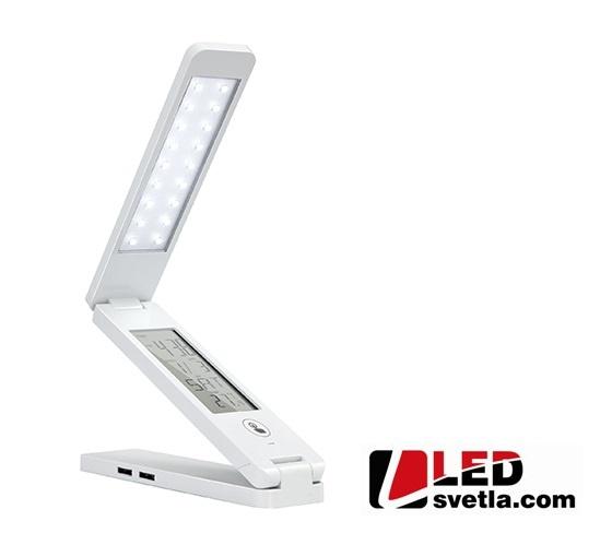 Svítidlo - stolní lampička s displejem, bílá, PW (neutrální bílá)