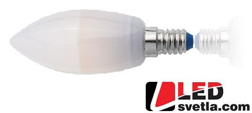 Žárovka E14 svíčka, 3,5W, 350lm, 360°, white lable, WW (teplá bílá)