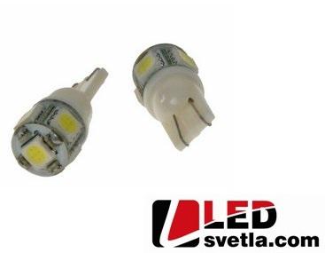 Autožárovka T10, bílá, 12V, 5LED/3SMD, 11,5x25,5mm