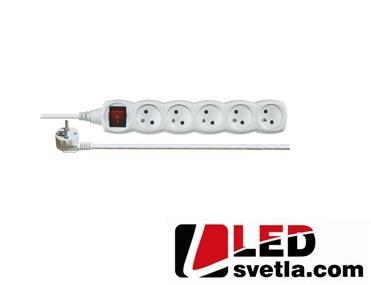 Prodlužovací kabel 5m, 5 zásuvek s vypínačem