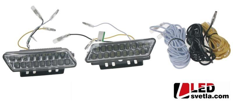 Autosvětlo pro denní svícení, miniaturní, 2x2,5W, 12-24V, 100x25mm, homologované