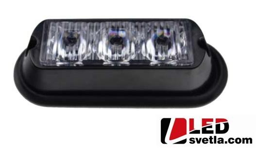 Autosvětlo LED vnější, modré, 12-24v, 3x1W, PREDATOR