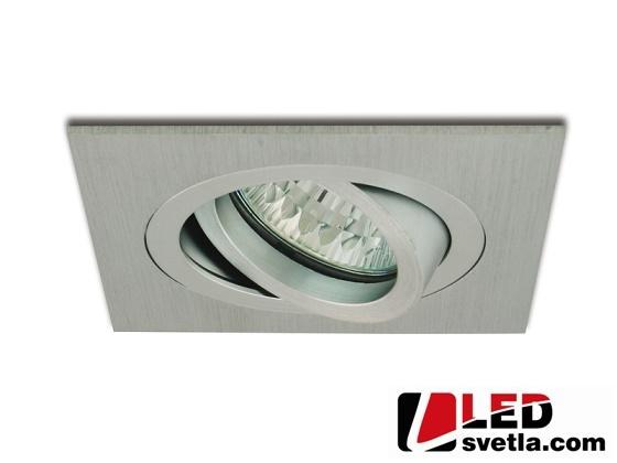 Rámeček podhledový pro bodové osvětlení, broušený hliník, výklopný, čtverec