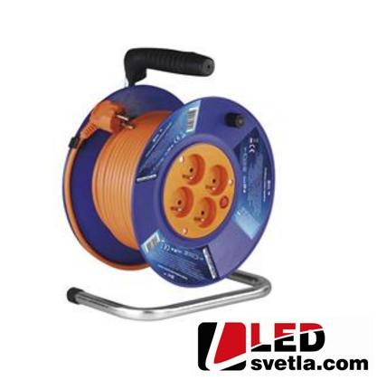 PVC prodlužovací kabel na bubnu, 4 zásuvky, 25m