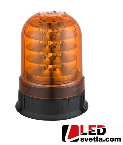LED maják výstražný, oranžový, 12-24V, 24LED, pro pevnou montáž